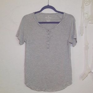American eagle soft and sexy striped grey t shirt